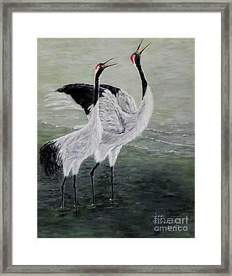 Singing Cranes Framed Print by Judy Kirouac