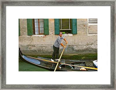 Singing Gondolier -venice Framed Print by Italian Art