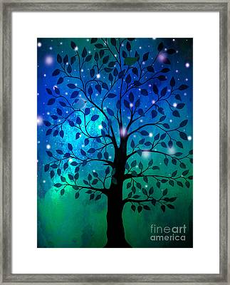 Singing In The Aurora Tree Framed Print by Cheryl Rose