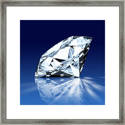 Single Blue Diamond Framed Print by Setsiri Silapasuwanchai