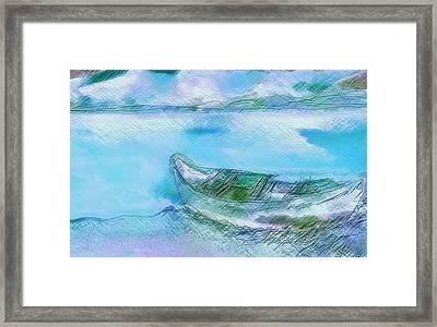 Single Boat On Shore Framed Print by Mimo Krouzian
