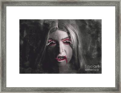 Sinister Portrait Of Scary Vampire Woman Framed Print by Jorgo Photography - Wall Art Gallery
