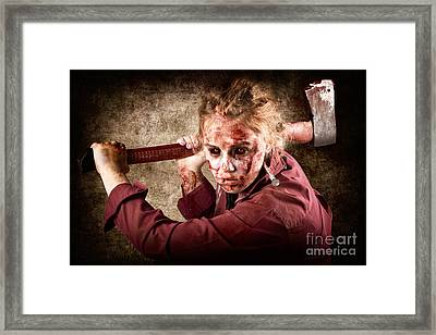 Sinister Zombie Axe Murderer. A Grunge Death Framed Print by Jorgo Photography - Wall Art Gallery