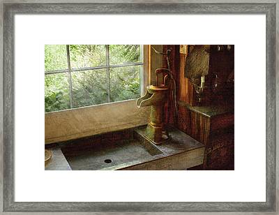 Sink - Water Pump Framed Print by Mike Savad