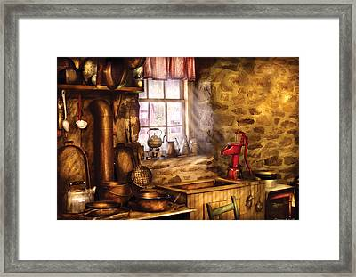 Sink - A Rather Old Kitchen Framed Print by Mike Savad