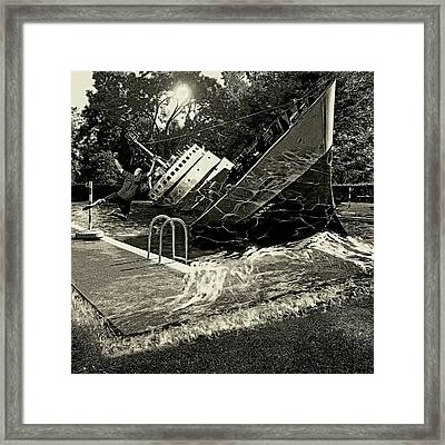 Sinking Into The Pool Black And White Framed Print