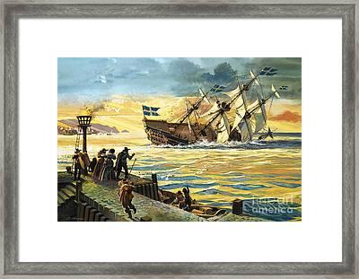 Sinking Of The Vasa Framed Print