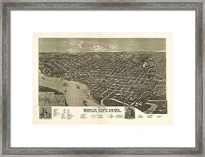 Sioux City Iowa 1888 Framed Print by Mountain Dreams