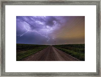 Framed Print featuring the photograph Sioux Falls Lightning by Aaron J Groen