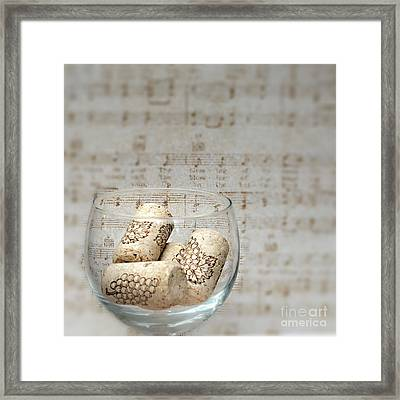 Sipping Wine While Listening To Music Framed Print by Sherry Hallemeier