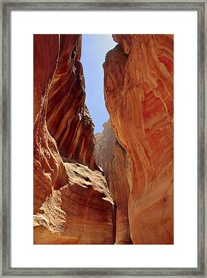 Siq Path Slot Canyon Petra Framed Print by Paul Cowan