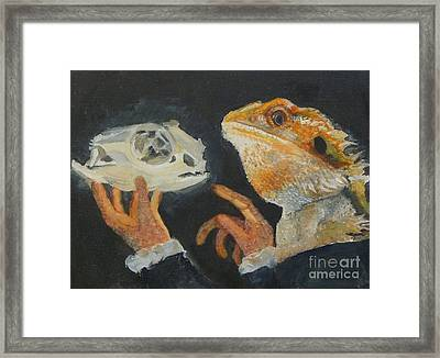 Sir Bearded-dragon As Hamlet Framed Print by Jessmyne Stephenson