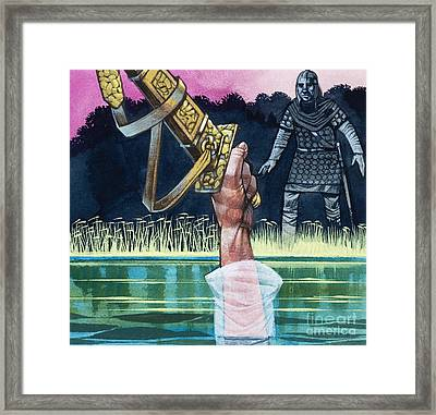 Sir Bedivere Returns Excalibur To The Lady Of The Lake Framed Print