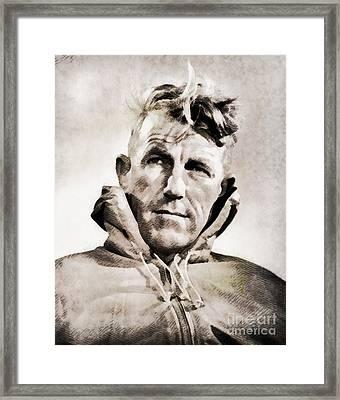 Sir Edmund Hillary, Explorer By John Springfield Framed Print by John Springfield