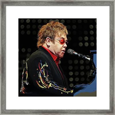 Sir Elton John At The Piano Framed Print by Elaine Plesser
