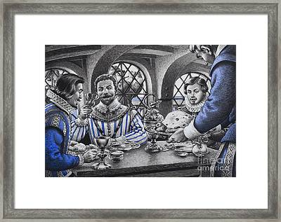 Sir Francis Drake At The Table Framed Print by Pat Nicolle