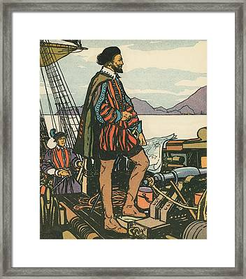Sir Francis Drake On His Ship Framed Print