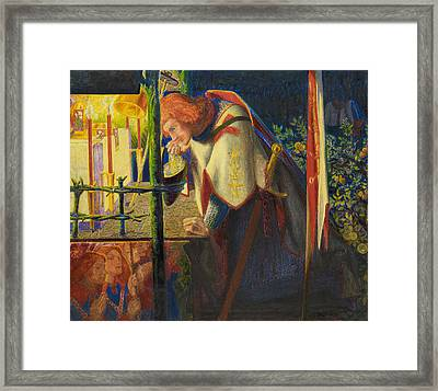 Sir Galahad At The Ruined Chapel Framed Print by Dante Gabriel Rossetti