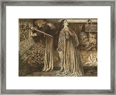 Sir Launcelot In The Queen's Chamber Framed Print by Dante Gabriel Rossetti