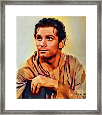 Sir Laurence Olivier, Digital Art By Mb Framed Print by Mary Bassett
