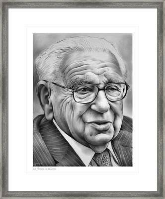 Sir Nicholas Winton Framed Print by Greg Joens