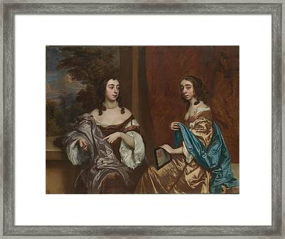 Sir Peter Lely    Mary Capel 16301715 Later Duchess Of Beaufort And Her Sister Elizabeth 16331678 Countess Of Carnarvon Framed Print
