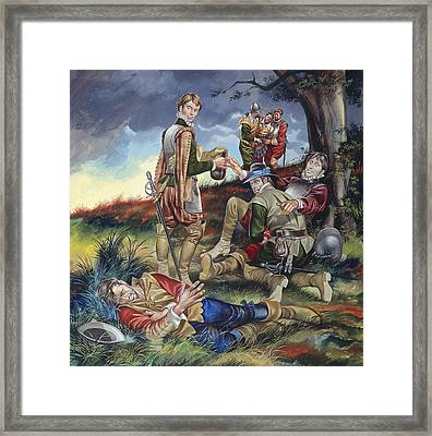 Sir Philip Sidney At The Battle Of Zutphen Framed Print by Ron Embleton