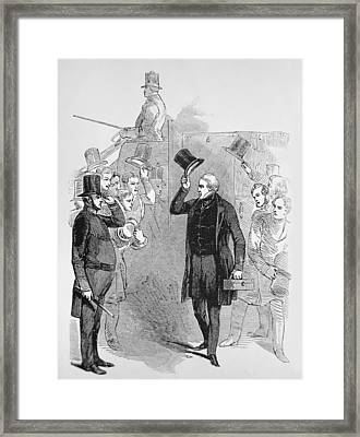 Sir Robert Peel Arriving At The House Of Commons Framed Print by English School