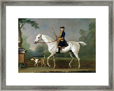 Sir Roger Burgoyne Riding 'badger' Framed Print by James Seymour