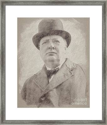 Sir Winston Churchill Prime Minister Of England Framed Print by Frank Falcon