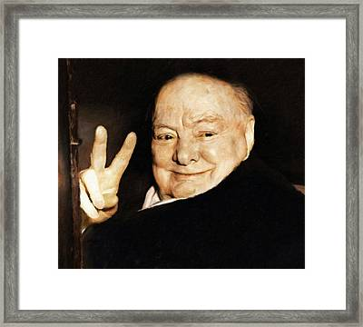 Sir Winston Churchill Victory Framed Print by Vincent Monozlay