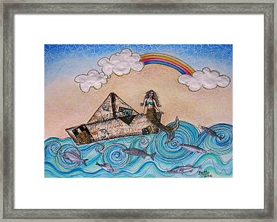 Siren On A Paper Boat Framed Print by Graciela Bello