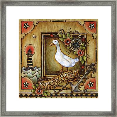 Framed Print featuring the painting Siren Song Aka Ducking In For A Tattoo by Retta Stephenson