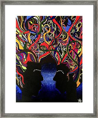 Sis The Twins - Abstract Silhouette Painting - Sisterhood - Abstract Painting  Framed Print
