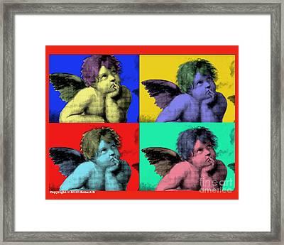 Sisteen Chapel Cherub Angels After Michelangelo After Warhol Robert R Splashy Art Pop Art Prints Framed Print by Robert R Splashy Art