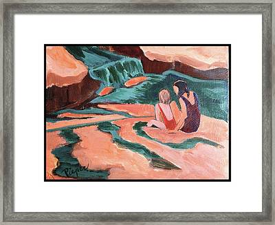 Sisters At Slide Rock Framed Print by Betty Pieper