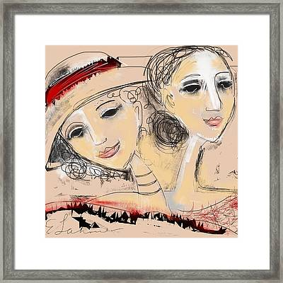 Framed Print featuring the digital art Sisters by Elaine Lanoue
