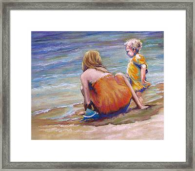 Sisters Enjoy The Shore Framed Print by Carole Haslock
