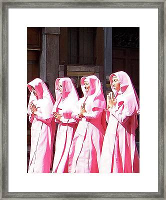 Sisters In Pink Framed Print