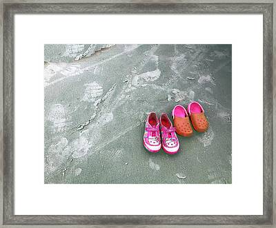 Sisters Playing Barefoot In The Sand Framed Print