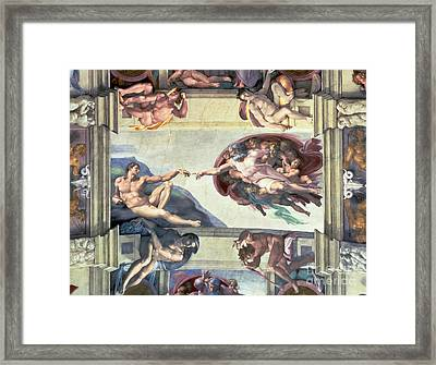 Sistine Chapel Ceiling Creation Of Adam Framed Print