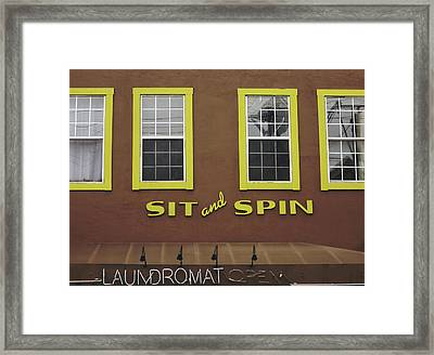 Sit And Spin Laundromat Color- By Linda Woods Framed Print by Linda Woods