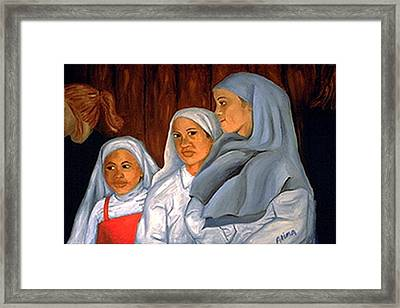 Sit Up Straight Girls Framed Print by Alima Newton