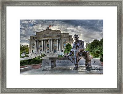 Sit With Me - Seated Lincoln Memorial By Gutzon Borglum  Framed Print