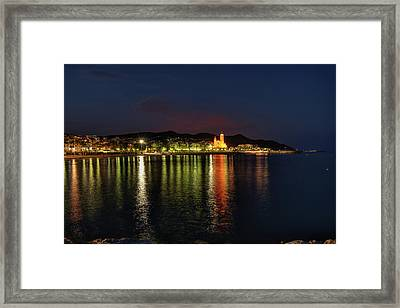 Framed Print featuring the photograph Sitges Night 001 by Lance Vaughn