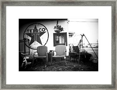 Sitting At The Texaco Black And White Framed Print by Toni Hopper