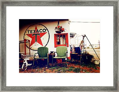 Sitting At The Texaco Framed Print by Toni Hopper