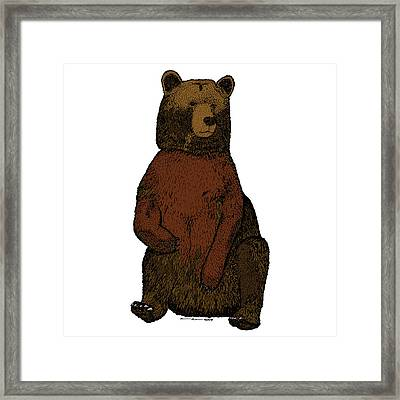 Sitting Bear - Full Color Framed Print by Karl Addison