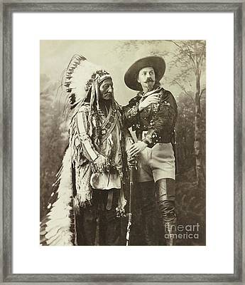 Sitting Bull And Buffalo Bill Cody Framed Print by American School