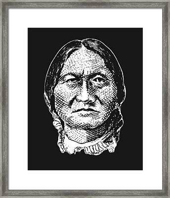 Sitting Bull Graphic - Black And White Framed Print by War Is Hell Store